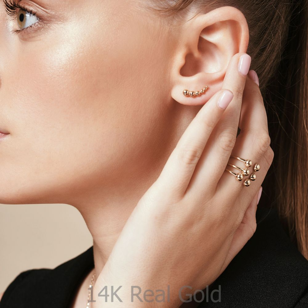 Women's Gold Jewelry | Open Ring in 14K Yellow Gold - Golden Circles