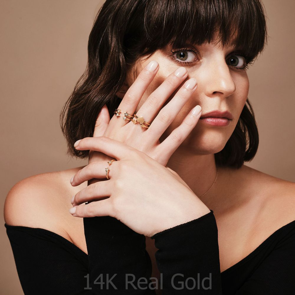 Women's Gold Jewelry | 14K Yellow Gold Rings - Big Heart