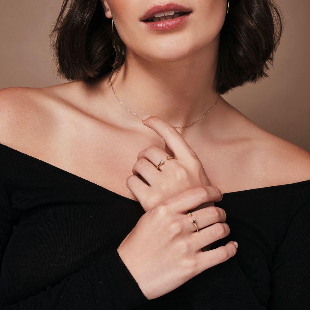 Women's Gold Jewelry   Open Ring in 14K Yellow Gold - Shinning Stars