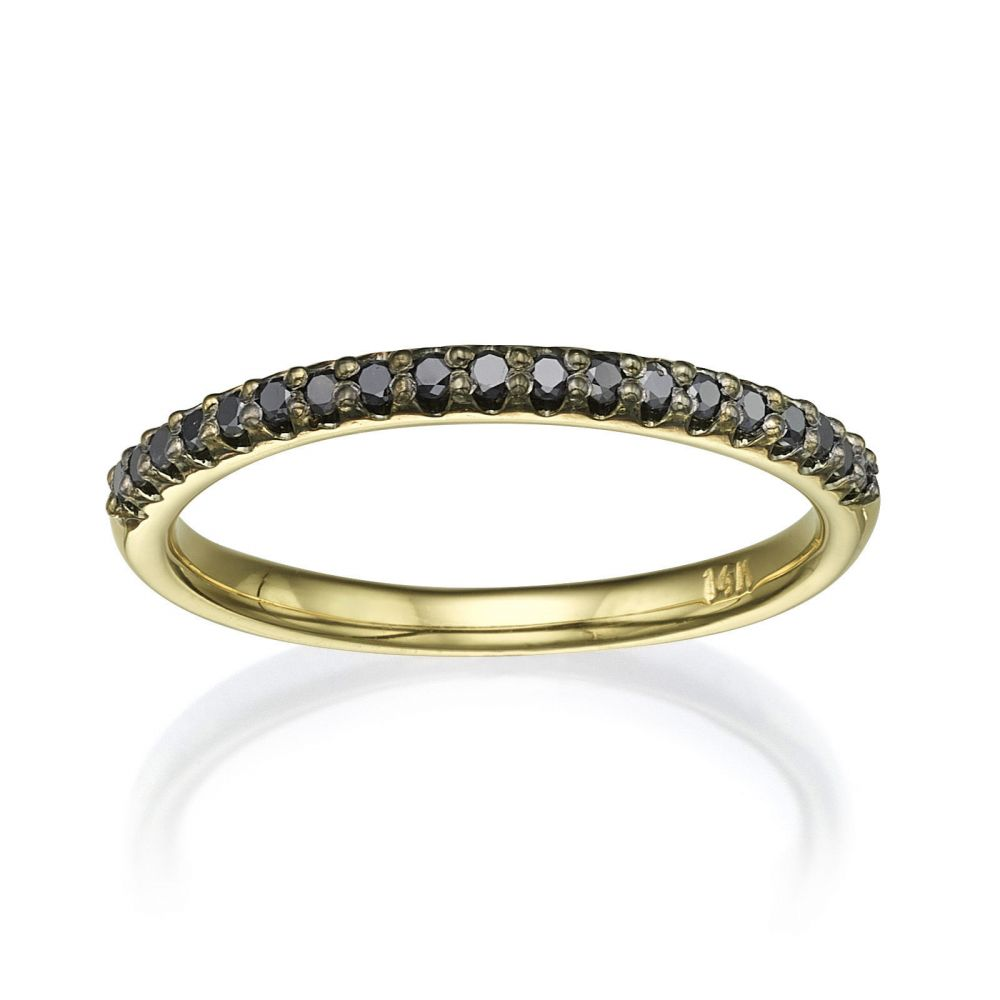 Diamond Jewelry | Black Diamond Band Ring in 14K Yellow Gold - Princess