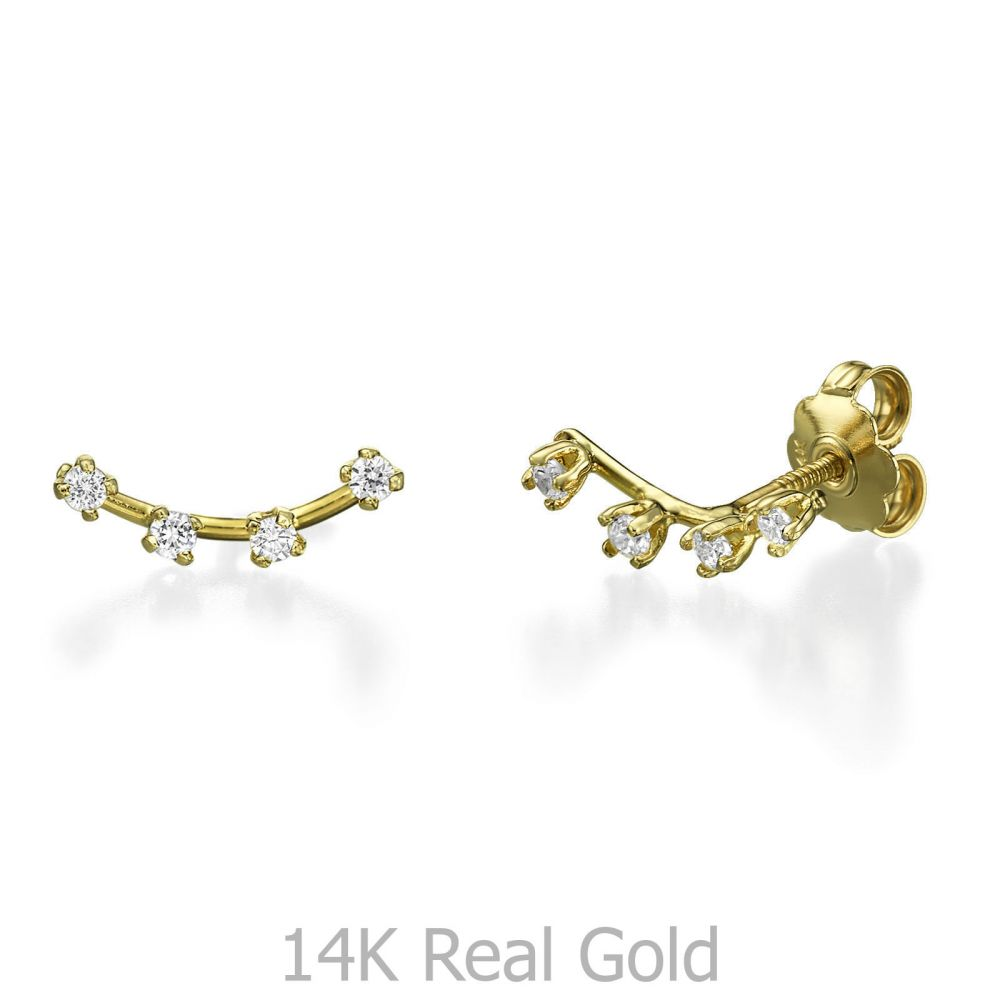 Women's Gold Jewelry | Stud Earring in Yellow Gold - Crystal Spotlights