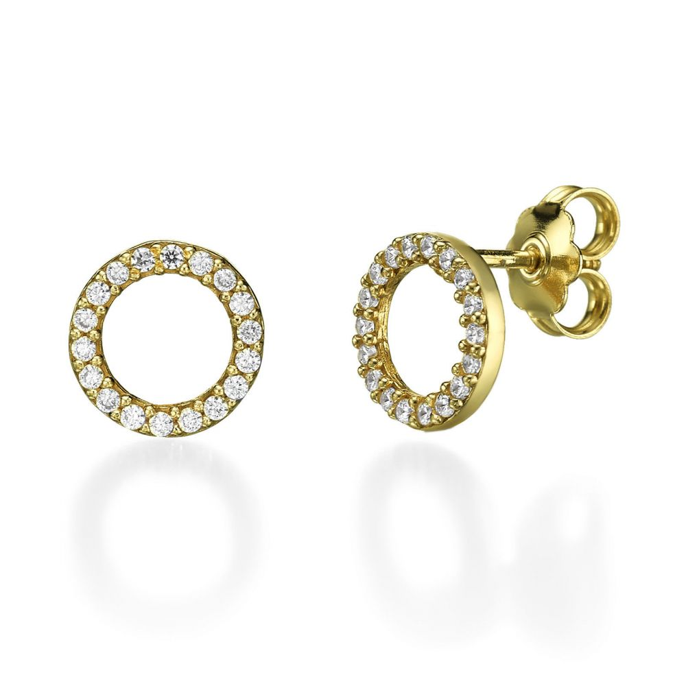 Women S Gold Jewelry Stud Earring In Yellow Circles Of Joy
