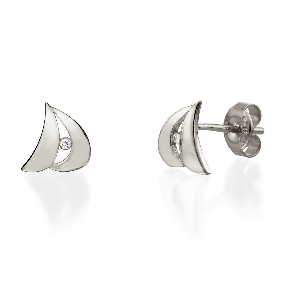Women's Gold Jewelry | White Gold Stud Earrings - Sidney