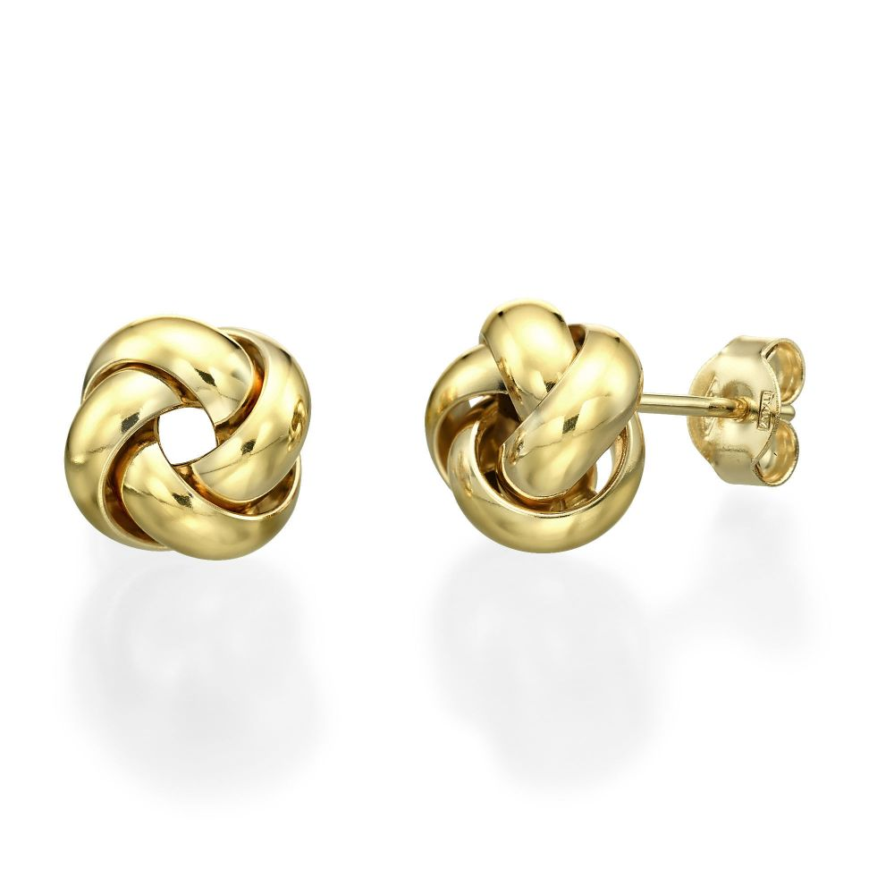 Yellow Gold Stud Earrings Golden Twist