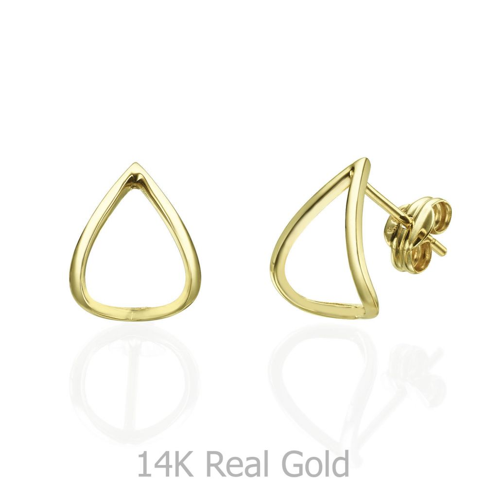Women's Gold Jewelry | Stud Earrings in 14K Yellow Gold - Embracing Drop