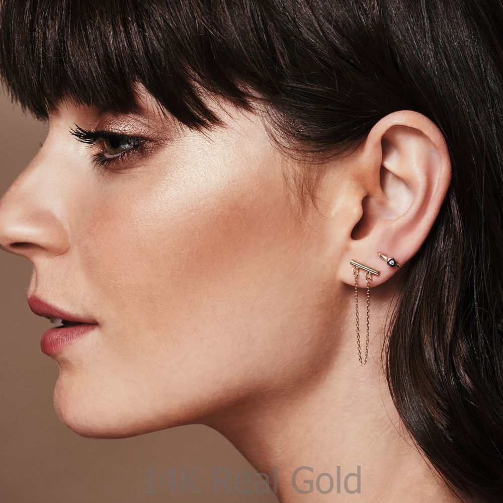 Women's Gold Jewelry   14K Yellow Gold Women's Earrings - Golden Reins