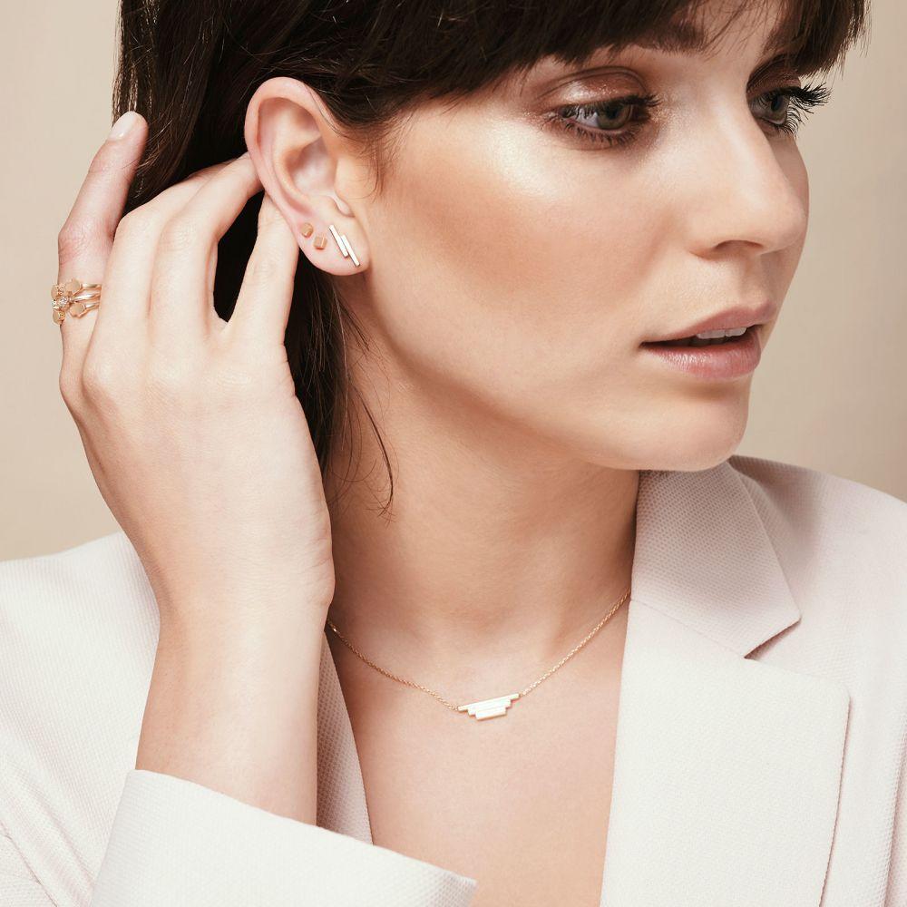 Women's Gold Jewelry | 14K Yellow Gold Women's Earrings - Golden Cube - Small