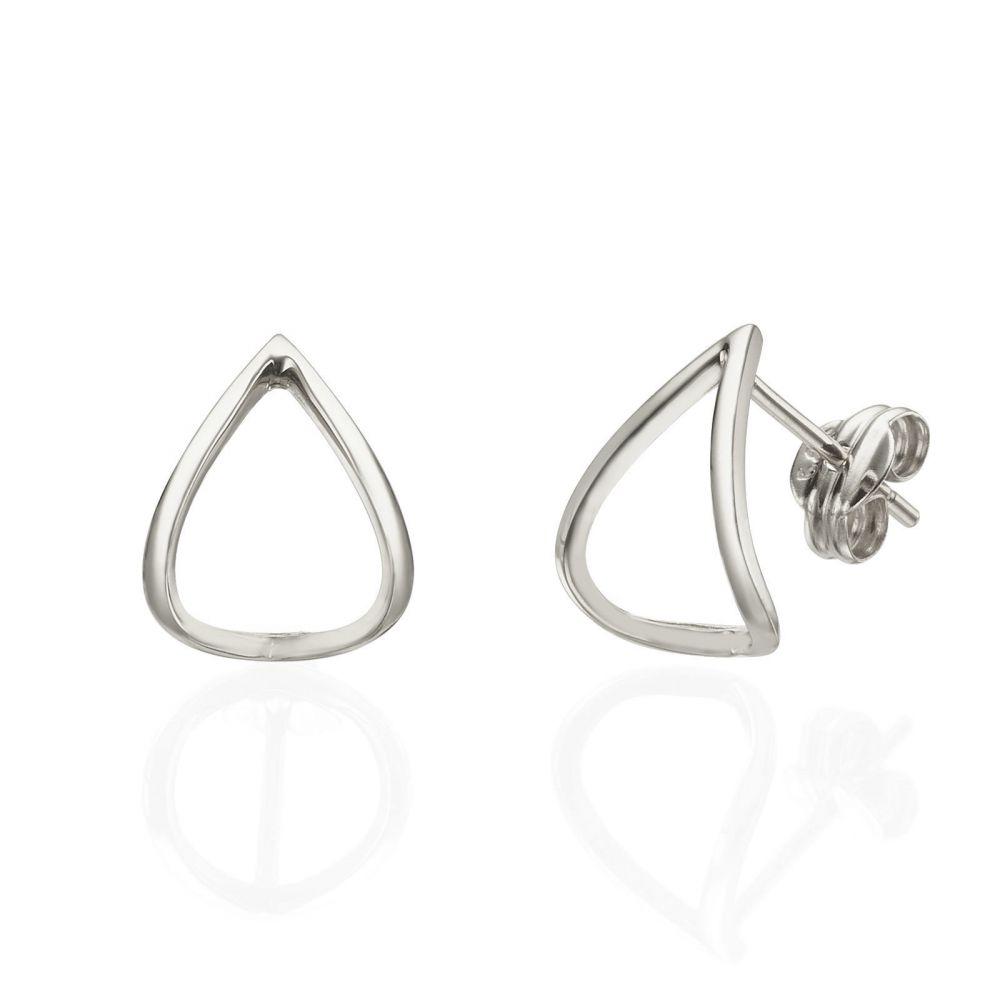 Stud Earrings In 14k White Gold Embracing Drop
