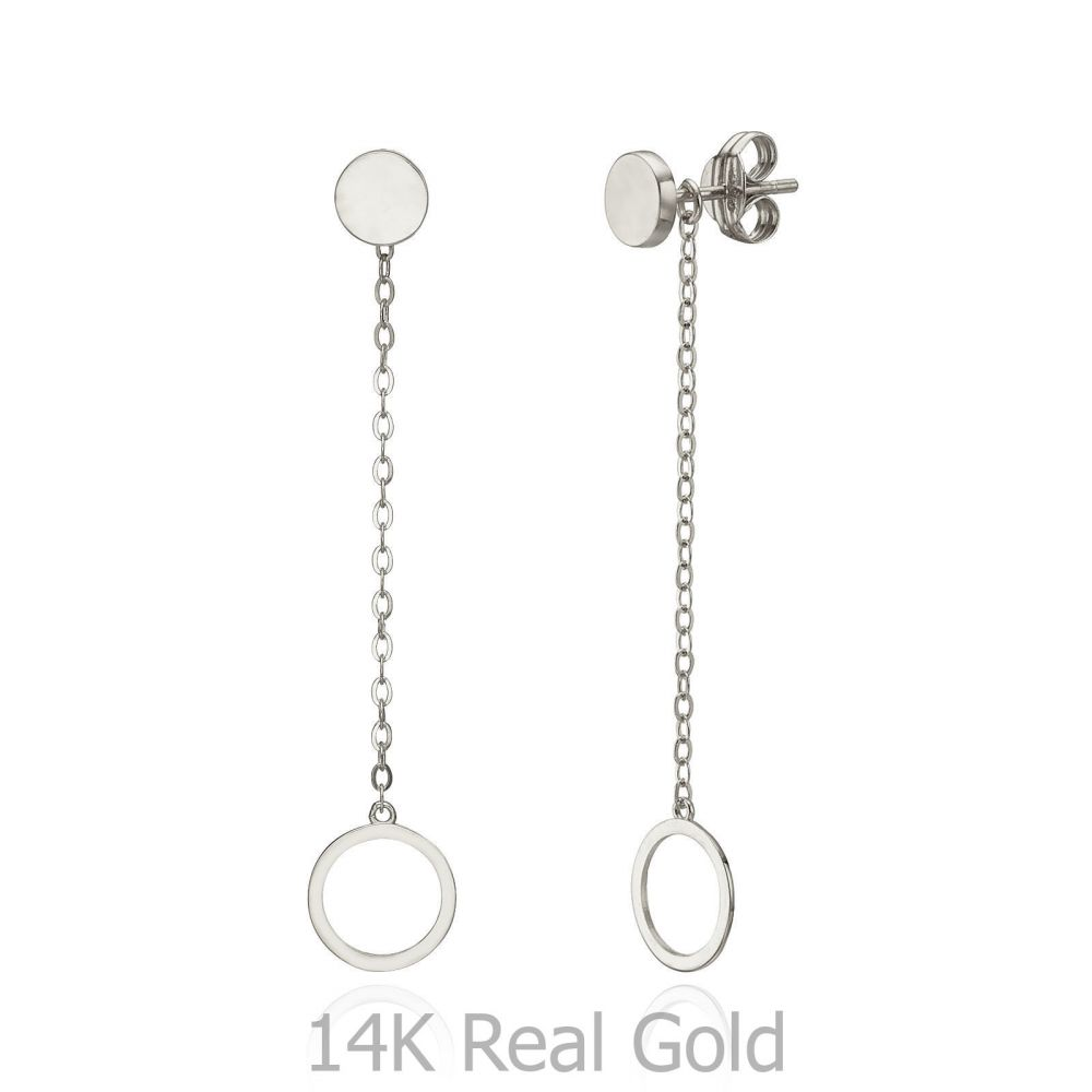 Women S Gold Jewelry Drop And Dangle Earrings In 14k White Dangling Circles