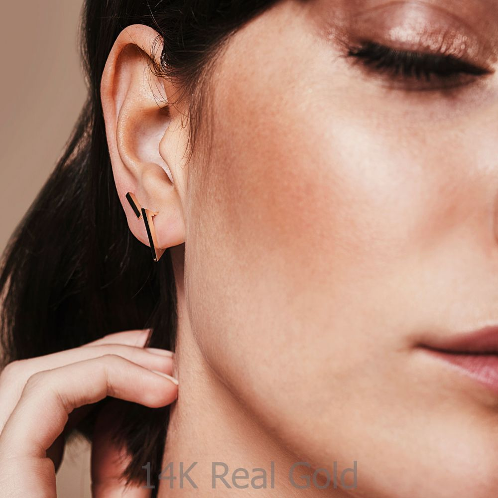 Women's Gold Jewelry | 14K Rose Gold Women's Earrings - Golden Triangle