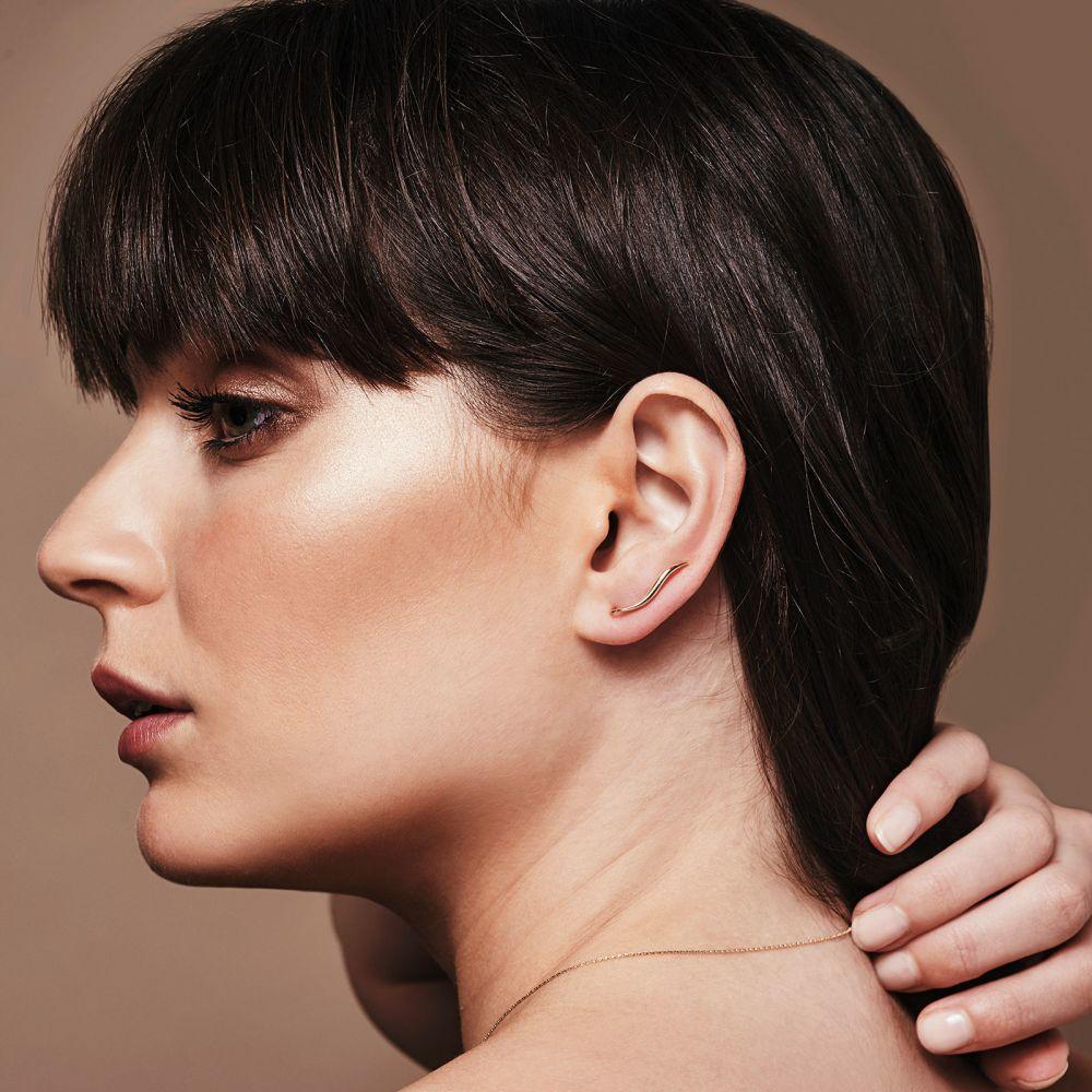 Women's Gold Jewelry | Climbing Earrings in 14K Yellow Gold - Lynx