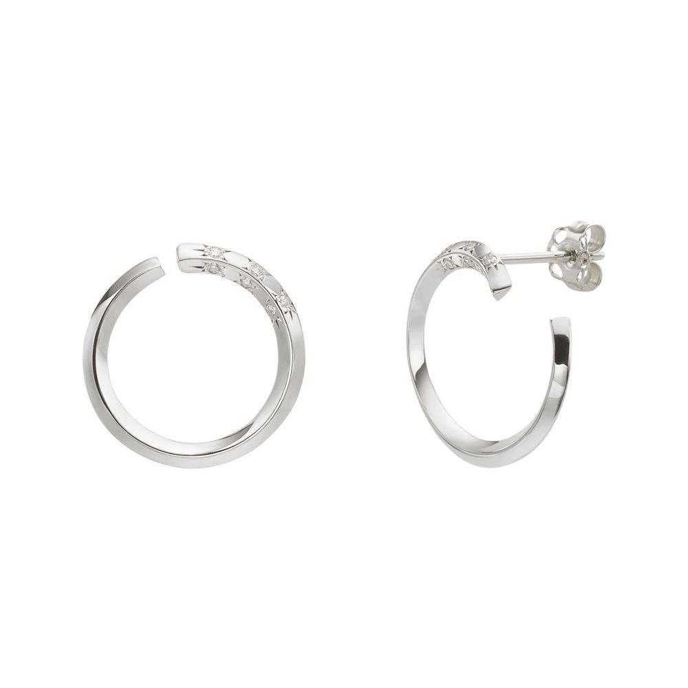Diamond Jewelry | Diamond Stud Earrings in 14K White Gold - Sunrise