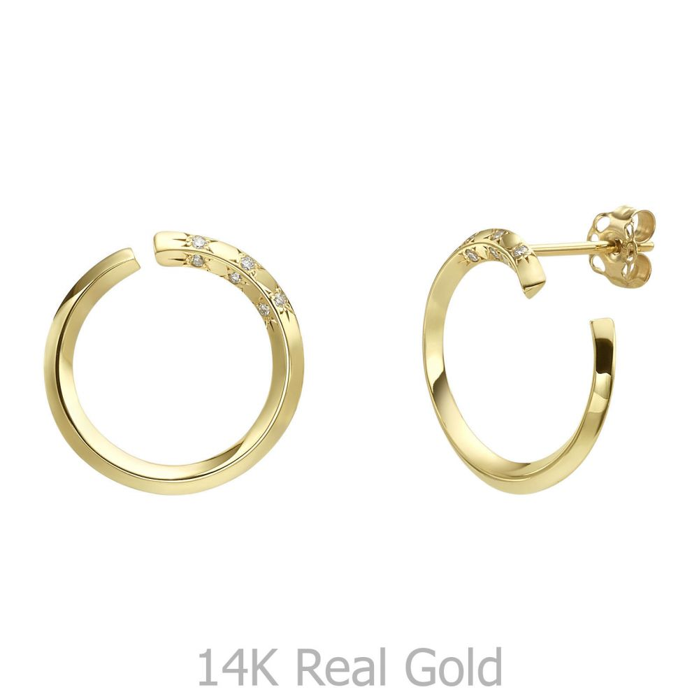 Diamond Jewelry | Diamond Stud Earrings in 14K Yellow Gold - Sunrise - Large