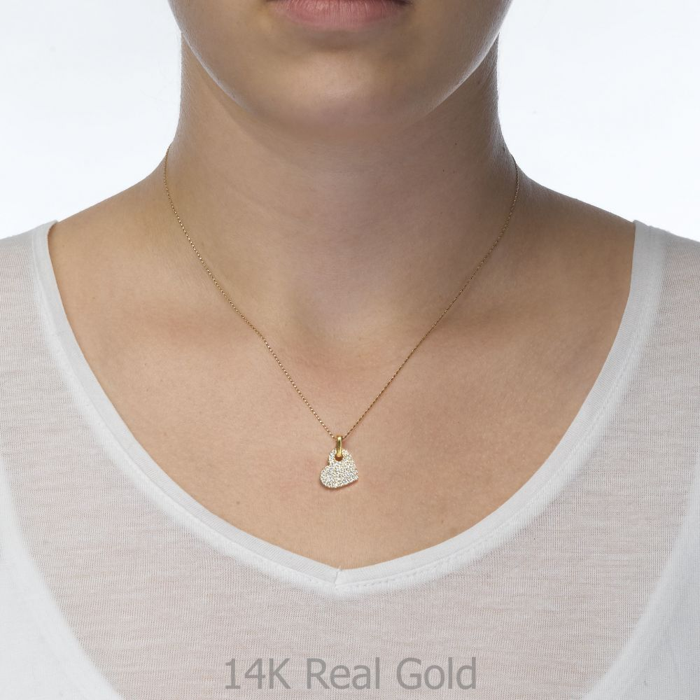 Women's Gold Jewelry | Pendant in Yellow Gold - Sparkling Heart
