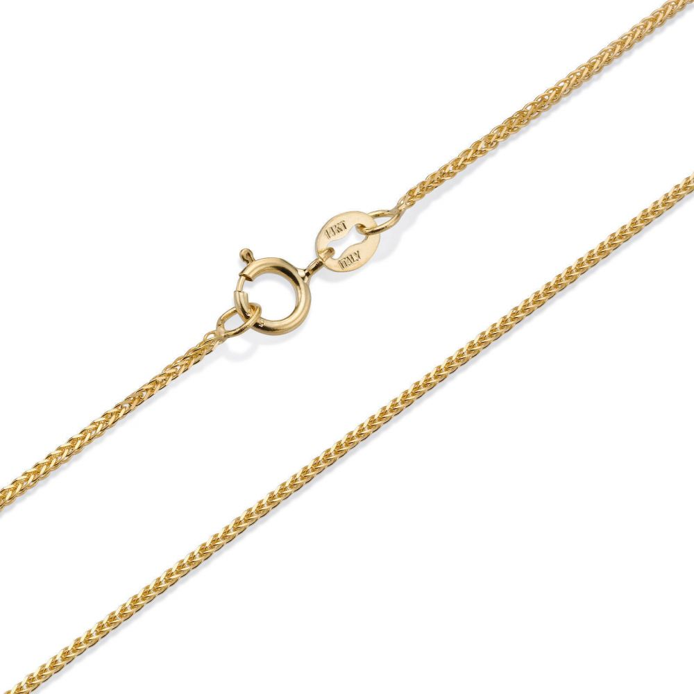 Gold Chains | 14K Yellow Gold Spiga Chain Necklace 0.8mm Thick, 16.5