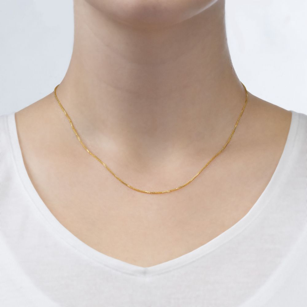 Gold Chains | 14K Yellow Gold Spiga Chain Necklace 0.8mm Thick, 17.7