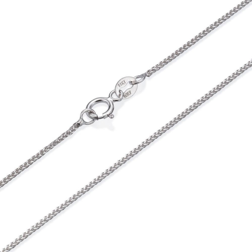 Gold Chains | 14K White Gold Spiga Chain Necklace 0.8mm Thick, 19.5