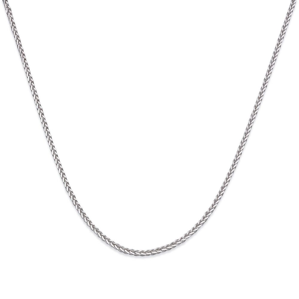 Gold Chains | 14K White Gold Spiga Chain Necklace 0.8mm Thick, 21.45