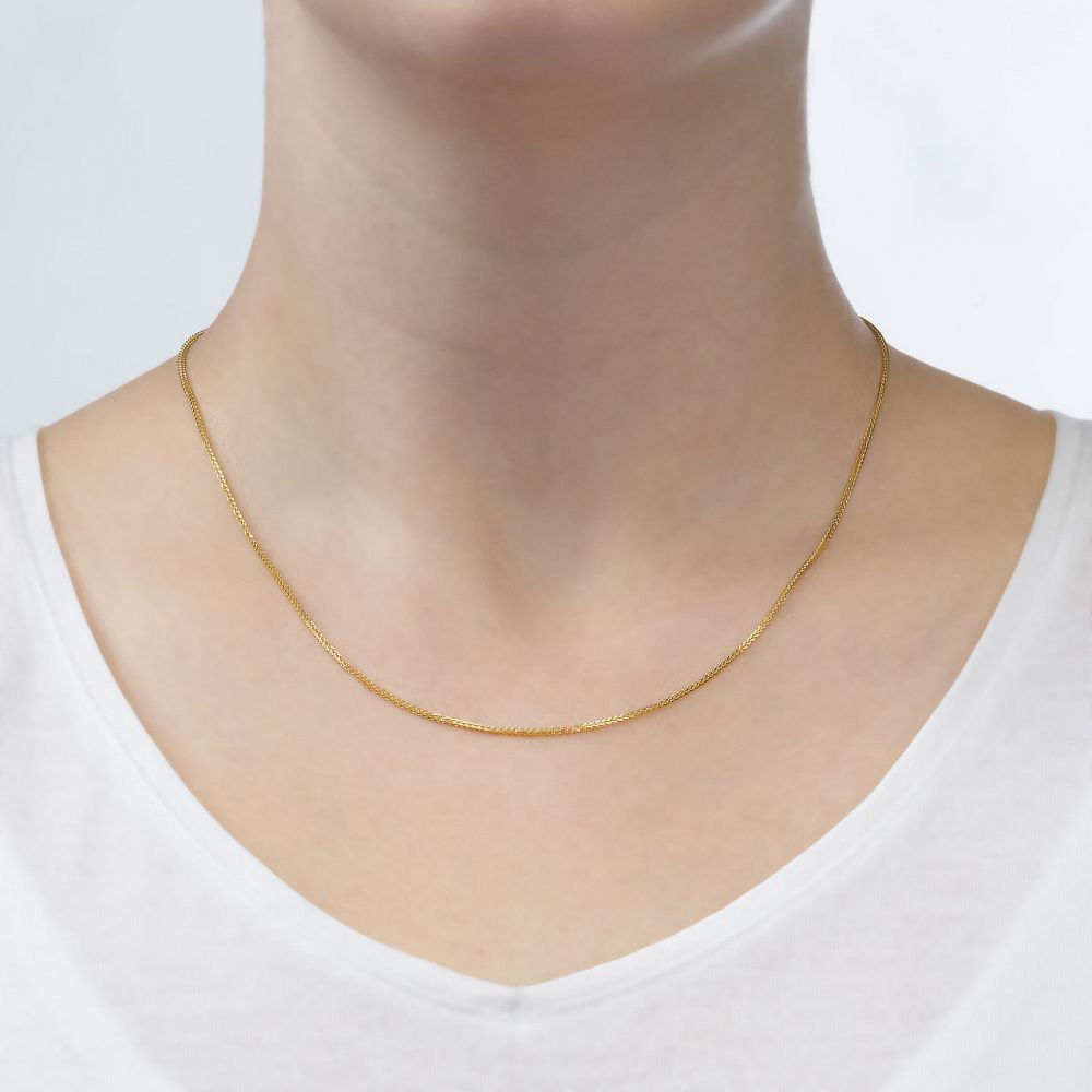 Gold Chains   14K Yellow Gold Spiga Chain Necklace 0.8mm Thick, 16.5