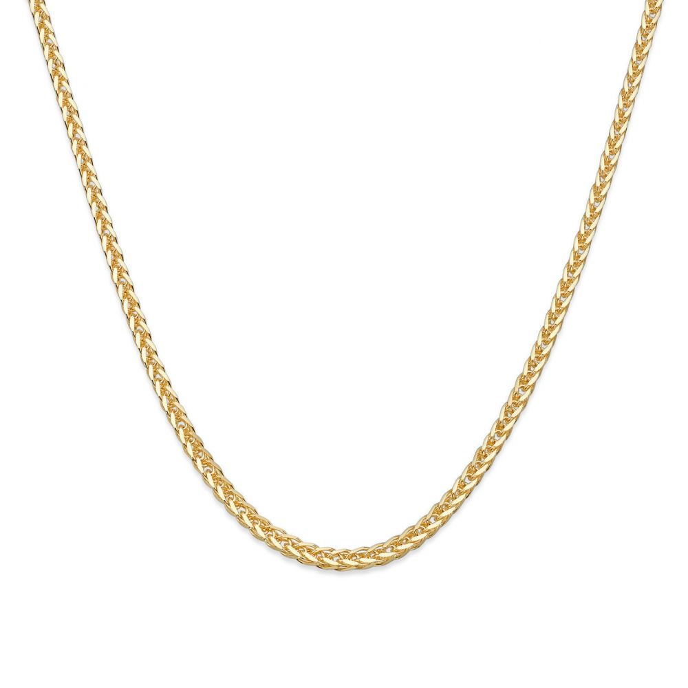Gold Chains | 14K Yellow Gold Spiga Chain Necklace 1mm Thick, 17.7