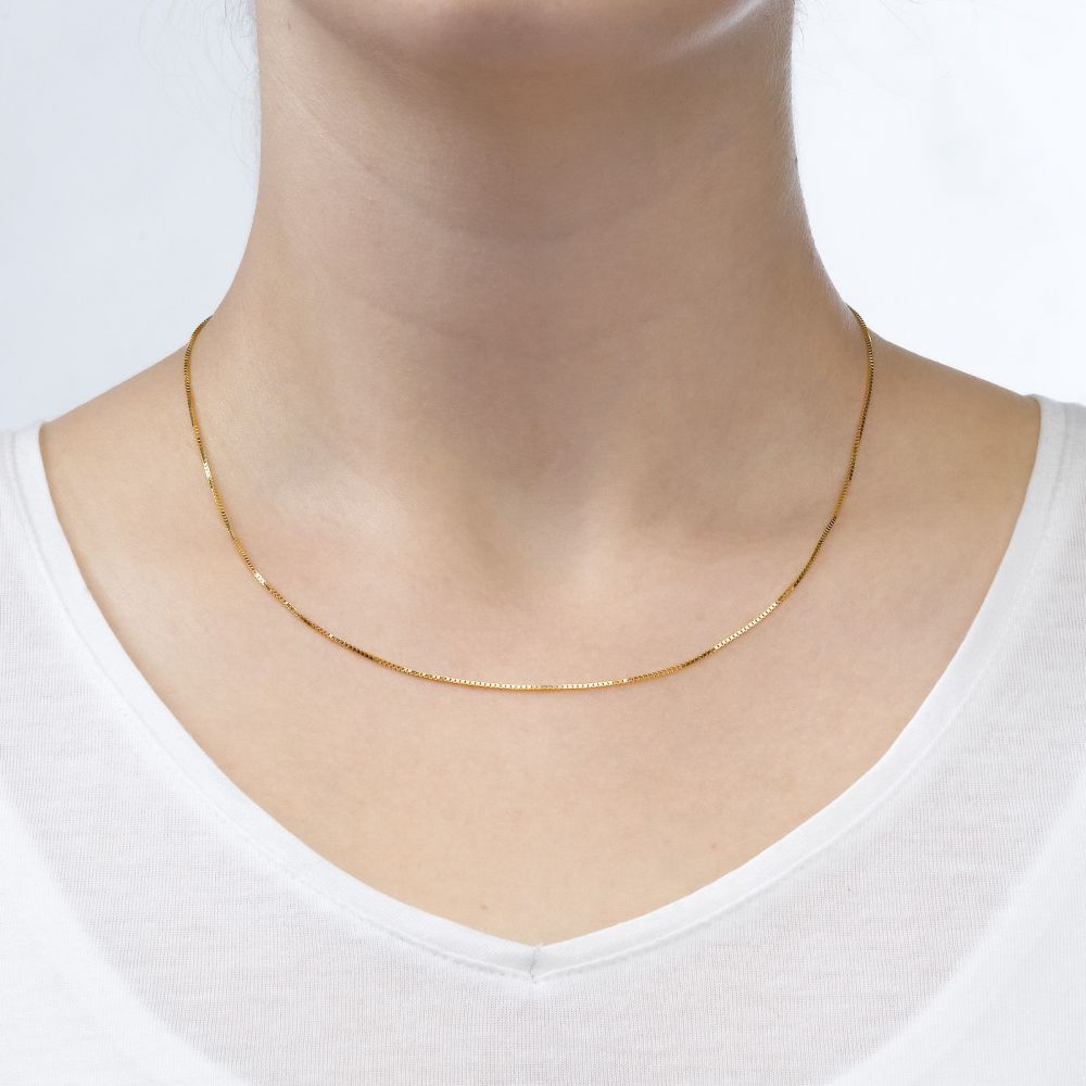 Gold Chains   14K Yellow Gold Venice Chain Necklace 0.8mm Thick, 19.5