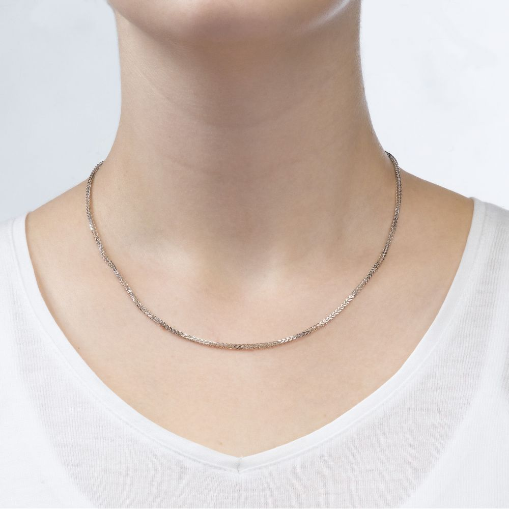 Gold Chains | 14K White Gold Spiga Chain Necklace 1.5mm Thick, 19.5