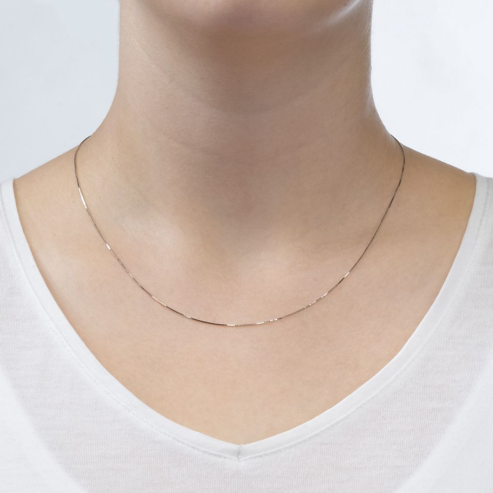 Gold Chains | 14K White Gold Venice Chain Necklace 0.53mm Thick, 16.5