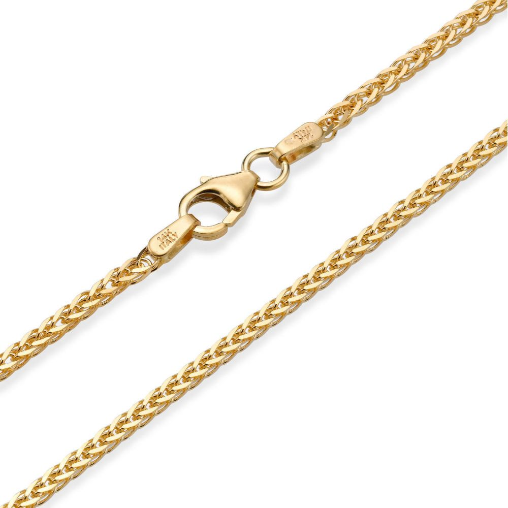 Gold Chains | 14K Yellow Gold Spiga Chain Necklace 1.5mm Thick, 19.5