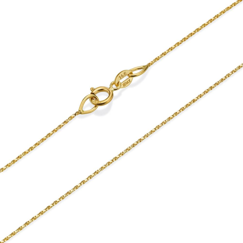 Gold Chains | 14K Yellow Gold Twisted Venice Chain Necklace 0.6mm Thick, 16.5