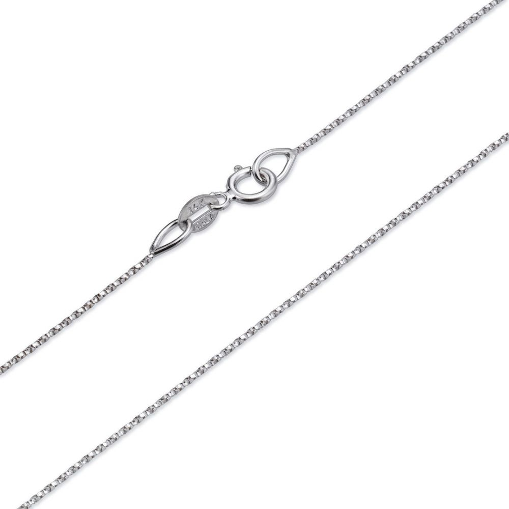 Gold Chains | 14K White Gold Twisted Venice Chain Necklace 0.6mm Thick, 16.5