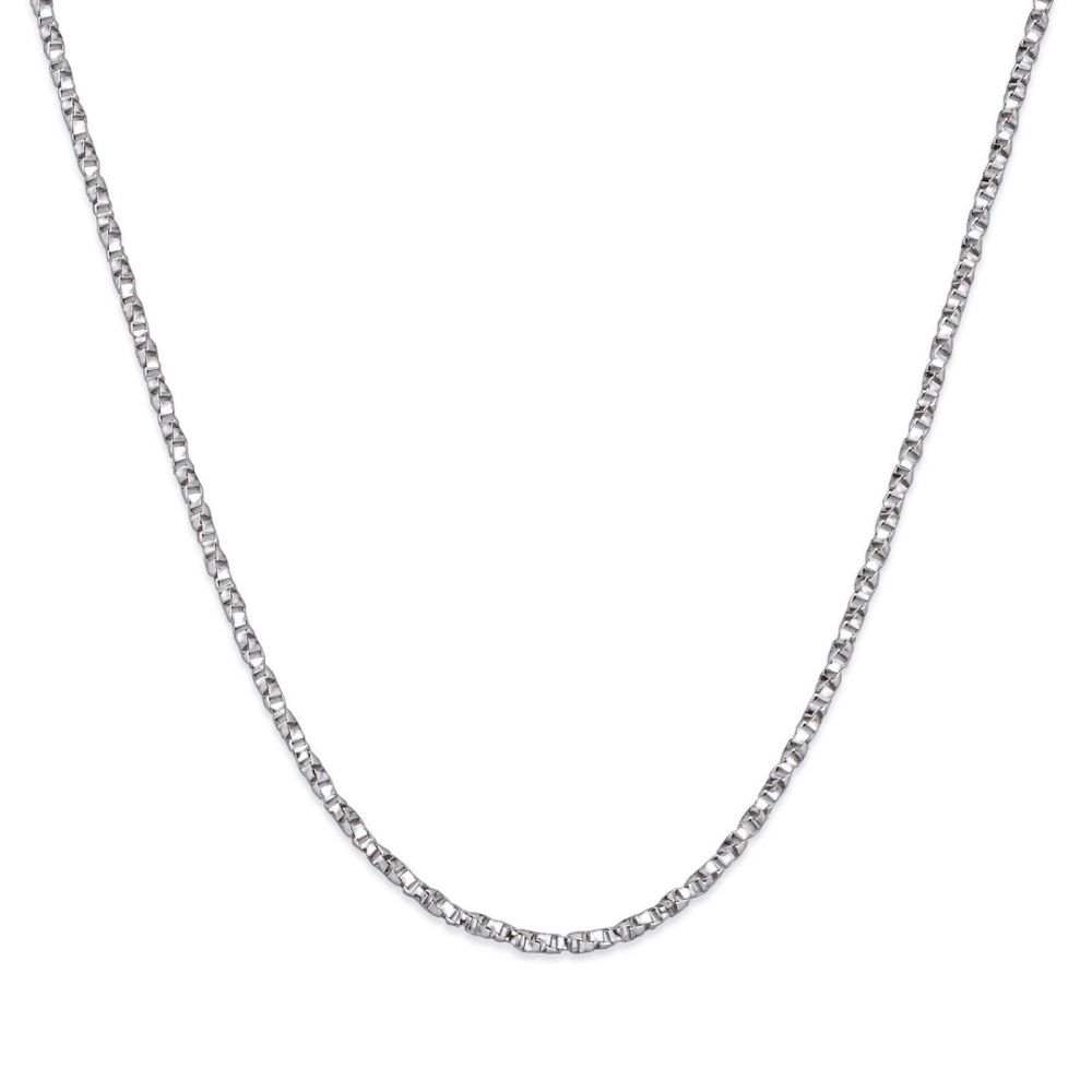Gold Chains | 14K White Gold Twisted Venice Chain Necklace 1mm Thick, 16.5