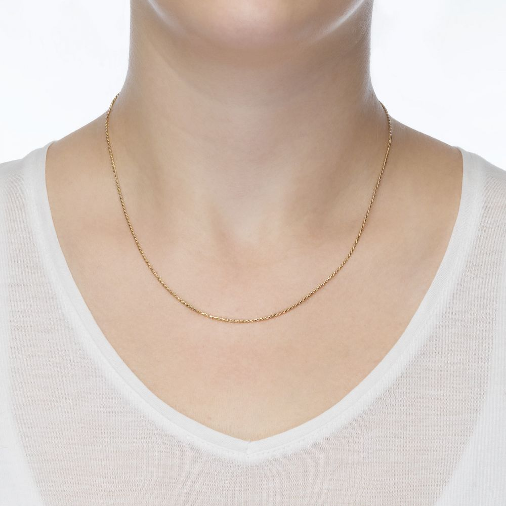 Gold Chains | 14K Yellow Gold Rope Chain Necklace 1mm Thick, 17.7