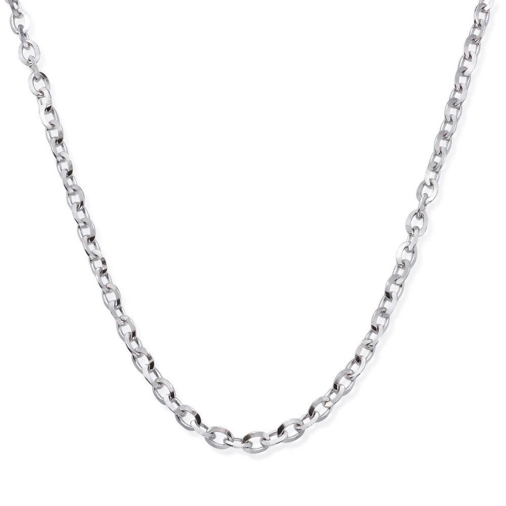 Gold Chains | 14K White Gold Rollo Chain Necklace 2.2mm Thick, 21.45