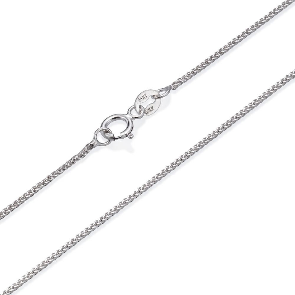 Gold Chains   14K White Gold Spiga Chain Necklace 0.8mm Thick, 23.6