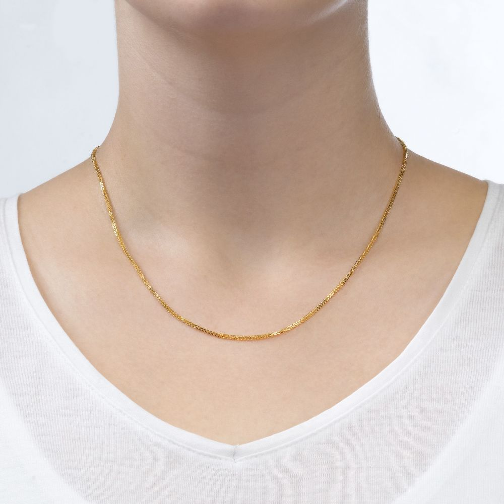 Gold Chains | 14K Yellow Gold Spiga Chain Necklace 1mm Thick, 23.6