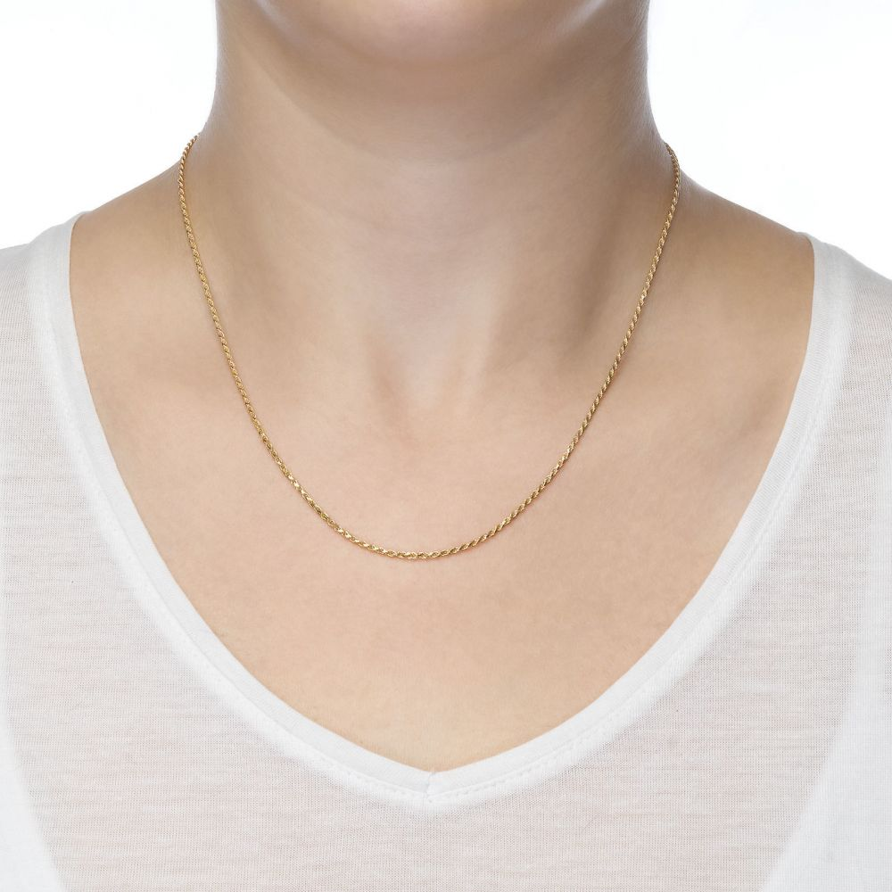 Gold Chains | 14K Yellow Gold Rope Chain Necklace 1.4mm Thick, 23.6