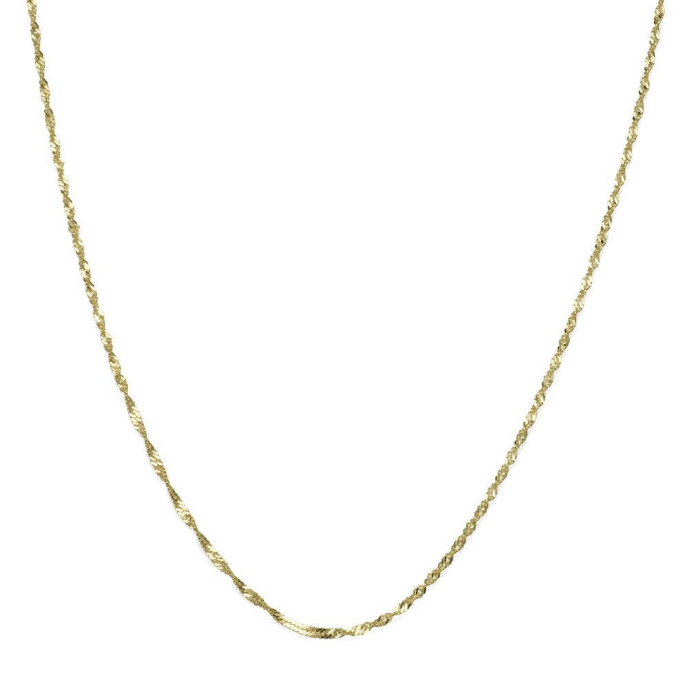 Gold Chains | 14K Yellow Gold Singapore Chain Necklace 1.2mm Thick, 19.7