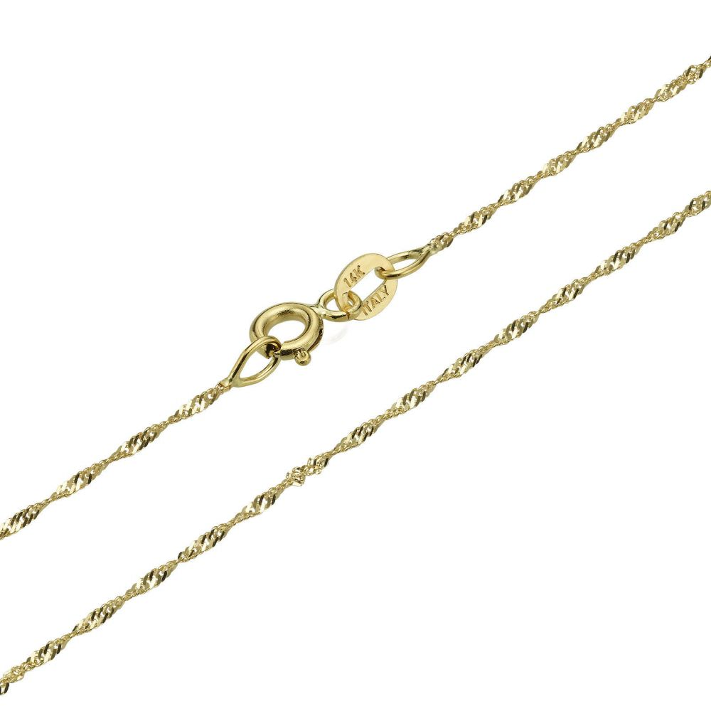 Gold Chains | 14K Yellow Gold Singapore Chain Necklace 1.6mm Thick, 16.5