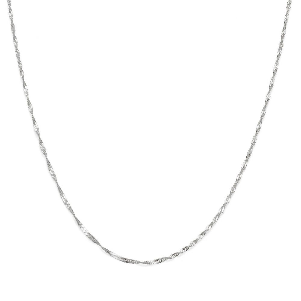 Gold Chains | 14K White Gold Singapore Chain Necklace 1.6mm Thick, 19.7