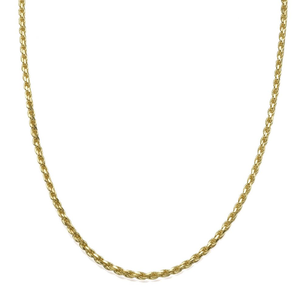 Gold Chains | 14K Yellow Gold Rope Chain Necklace 1.9mm Thick, 17.7