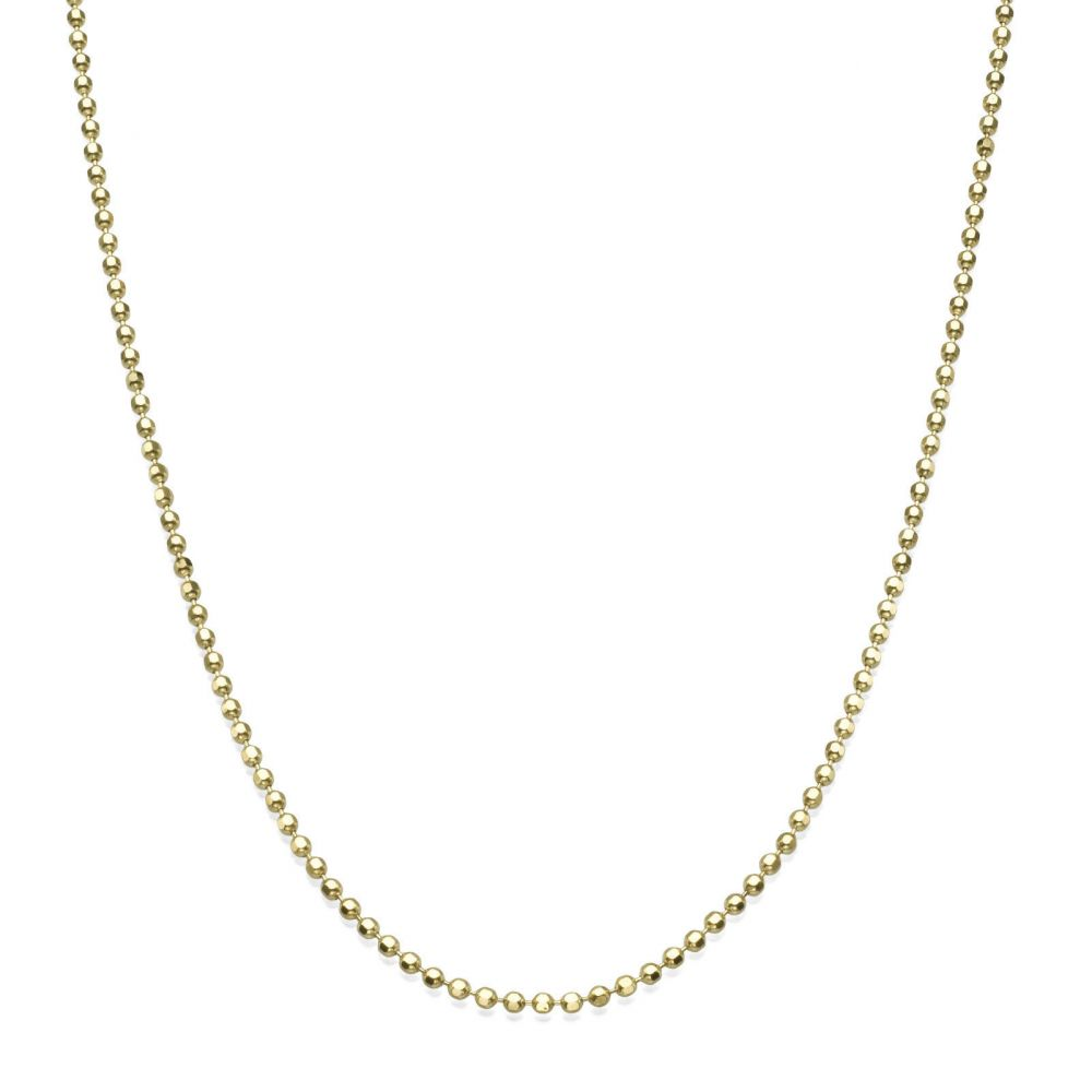 Gold Chains | 14K Yellow Gold Balls Chain Necklace 1.4mm Thick, 19.7