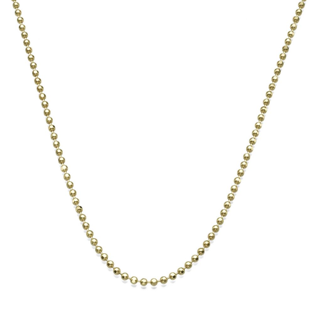 Gold Chains   14K Yellow Gold Balls Chain Necklace 1.8mm Thick, 19.7