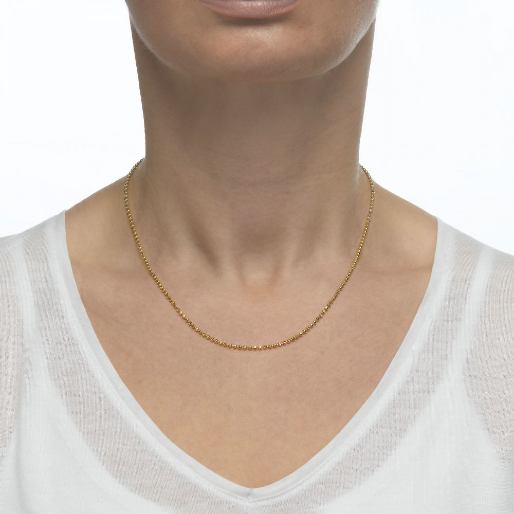 Gold Chains | 14K Yellow Gold Balls Chain Necklace 1.8mm Thick, 23.6