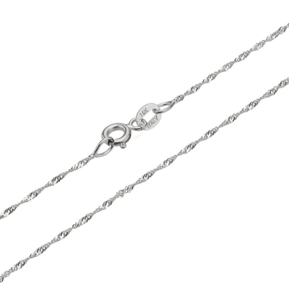 Jewelry for Men | 14K White Gold Chain for Men Singapore 1.6mm Thick, 19.7