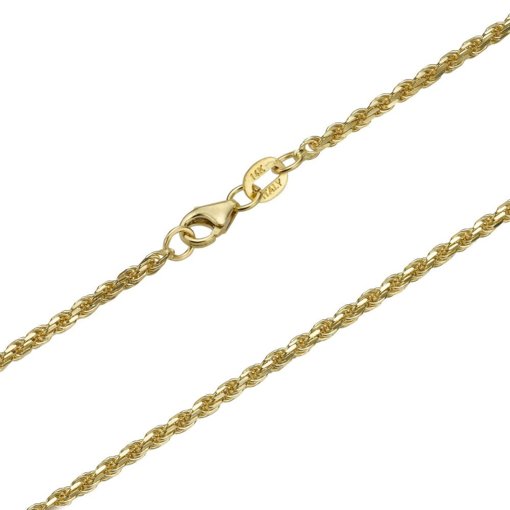 Jewelry for Men | 14K Yellow Gold Chain for Men Rope 1.9mm Thick, 19.7