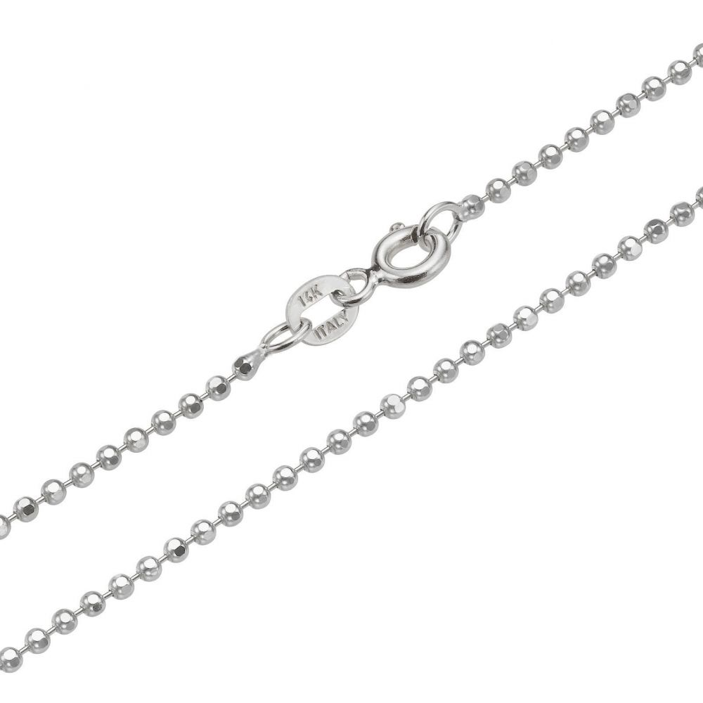 Jewelry for Men | 14K White Gold Chain for Men Balls 1.8mm Thick, 19.7