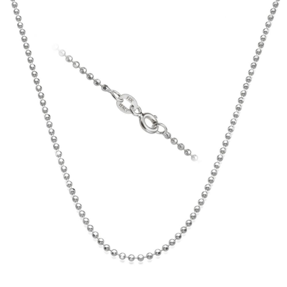 Jewelry for Men   14K White Gold Chain for Men Balls 1.8mm Thick, 19.7