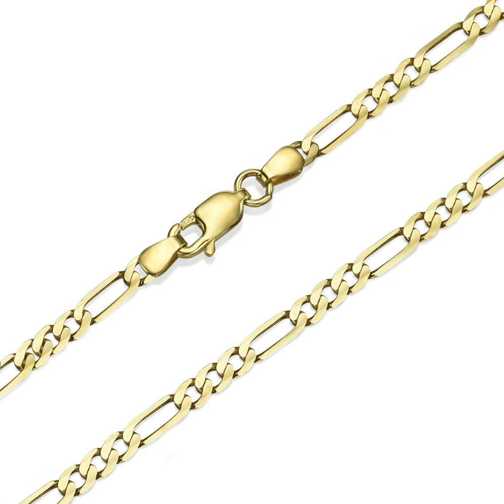 Jewelry for Men | 14K Yellow Gold Chain for Men Figaro 3.84mm Thick, 21.6