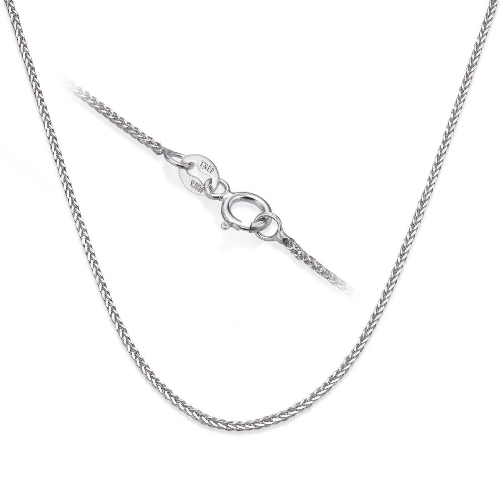 Gold Chains | 14K White Gold Spiga Chain Necklace 0.8mm Thick, 16.5