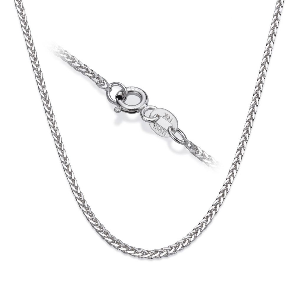 Gold Chains | 14K White Gold Spiga Chain Necklace 1mm Thick, 16.5